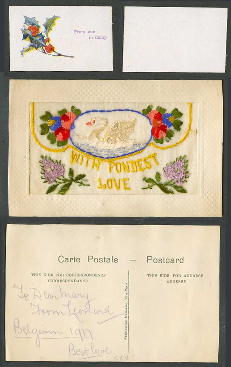 WW1 SILK Embroidered 1917 Postcard Swan Bird, With Fondest Love From One in Camp