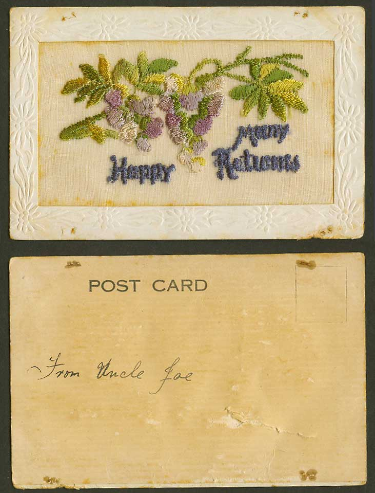 WW1 SILK Embroidered Old UB Postcard Many Happy Returns, Grape Grapes Grapevines