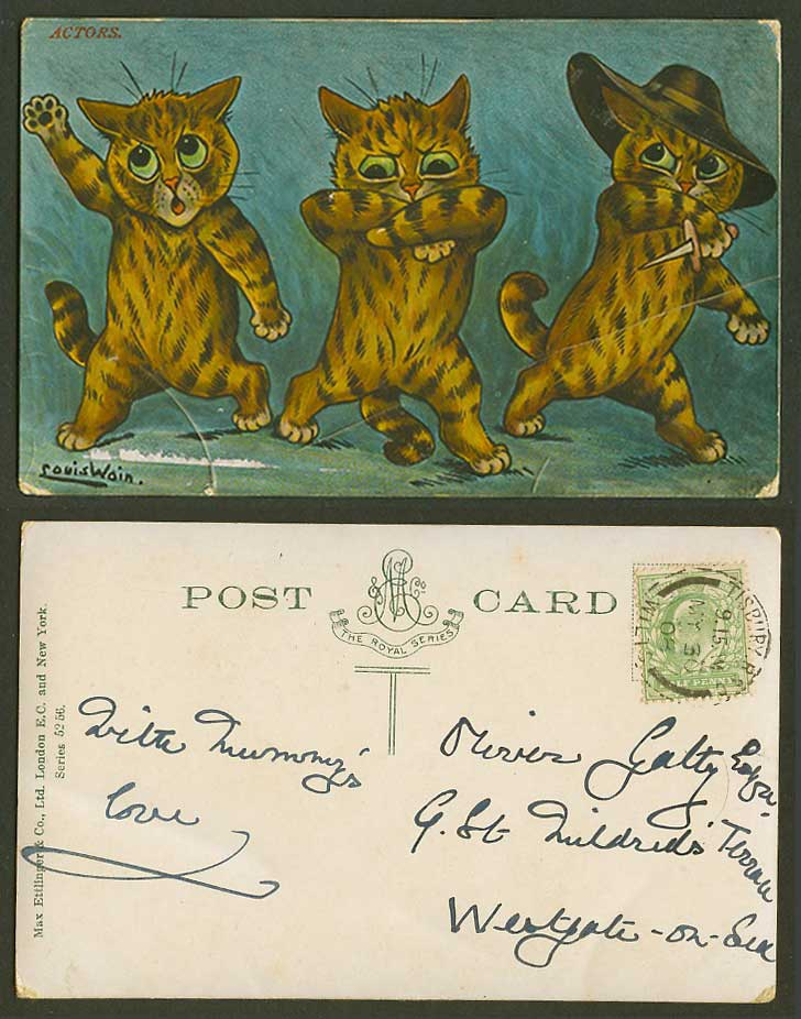 Louis Wain Artist Signed Cats Kittens, Actors, Knife Sword Hat 1908 Old Postcard