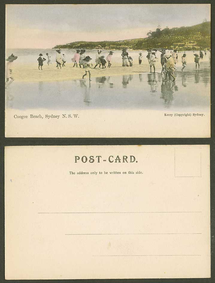 Australia Old Hand Tinted UB Postcard Coogee Beach Sydney NSW Children Boys Girl
