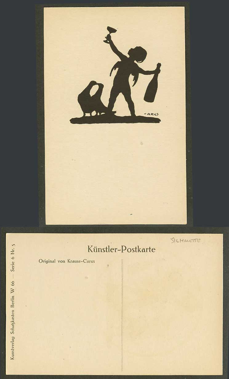 Krause Carus Artist Signed Silhouette Old Postcard Angel Bottle Glass Birds Kiss