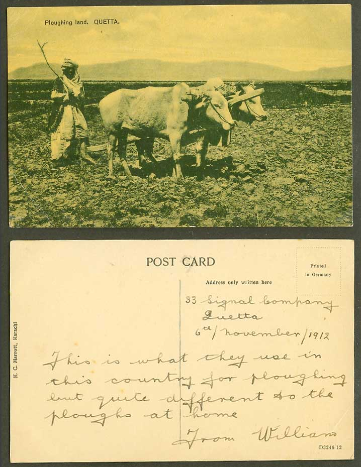 Pakistan 1912 Old Postcard Ploughing Land, QUETTA Farmer and Cattle K.C. Marrott