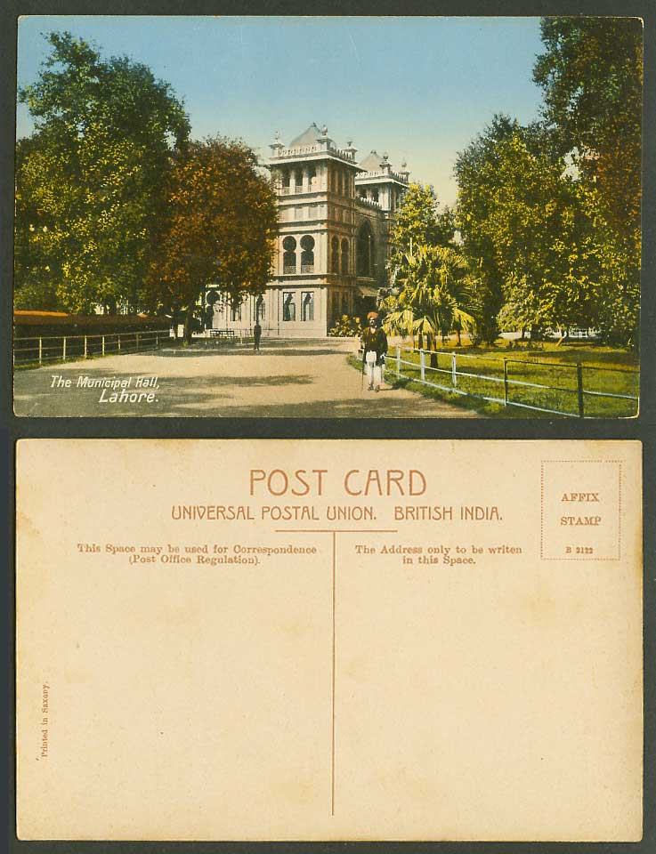 Pakistan Lahore Old Colour Postcard The Municipal Hall, Native Man British India