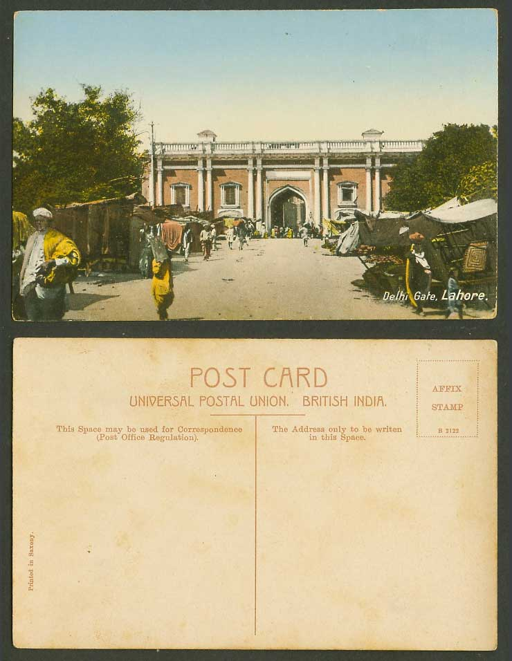 Pakistan India Old Colour Postcard Lahore, Delhi Gate, Street, Roadside Sellers