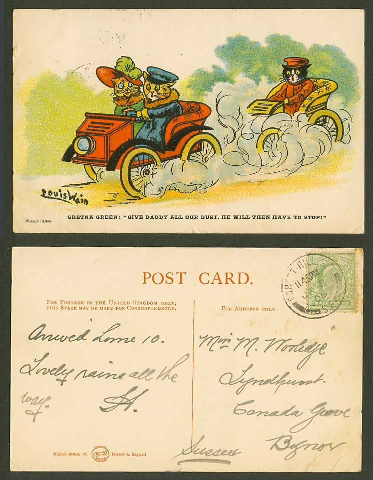 Louis Wain Artist Signed Cats Gretna Green Give Daddy All Dust 1906 Old Postcard