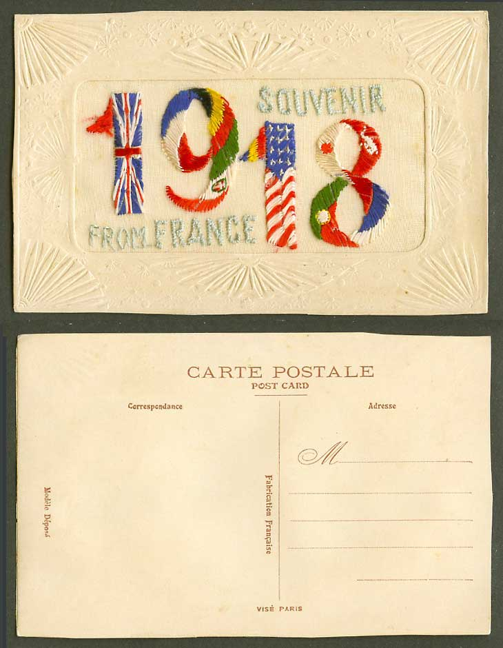 WW1 SILK Embroidered 1918 Old Embossed Postcard Souvenir from France, Flag Flags