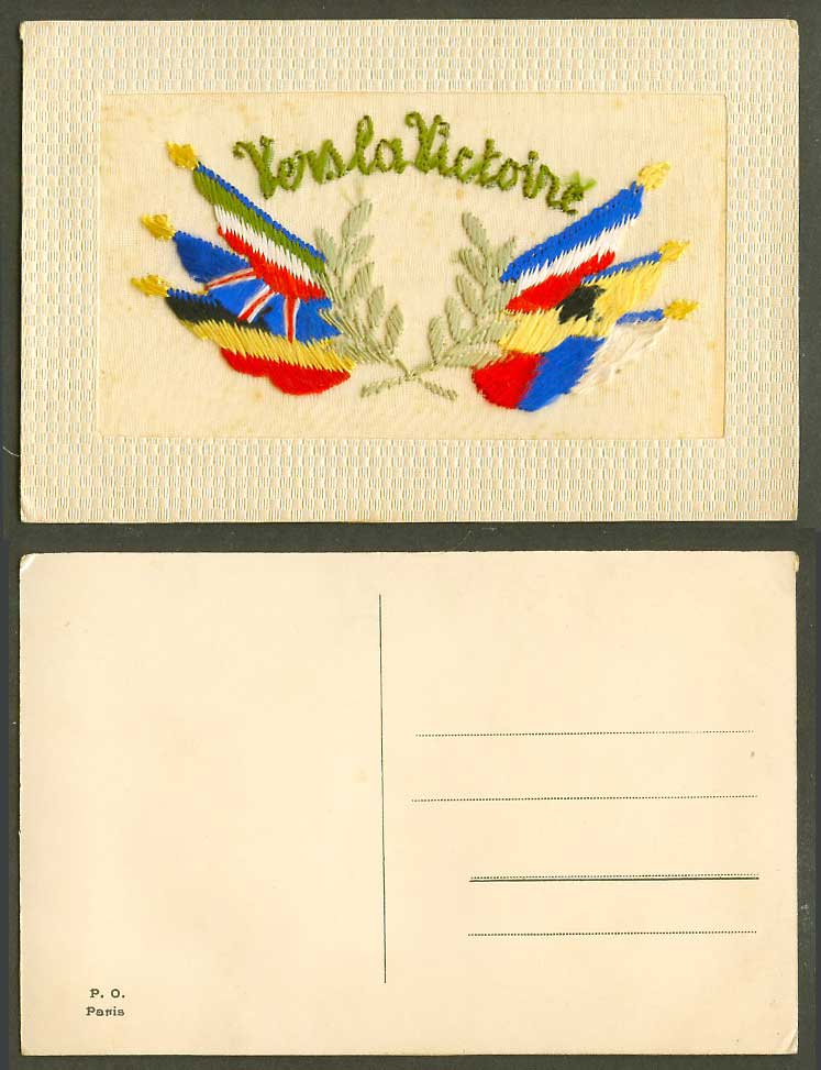 WW1 SILK Embroidered Old Postcard Vers la Victoire Towards Victory Flags Novlety