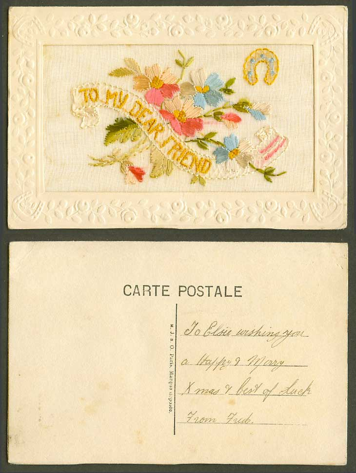 WW1 SILK Embroidered Old Postcard To My Dear Friend, Flowers Horseshoe, M.J.B.O.