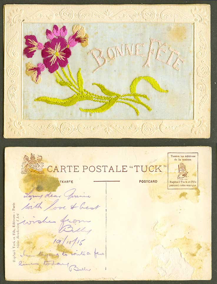 WW1 SILK Embroidered 1915 Old Tuck's Postcard Bonne Fete Happy Birthday, Flowers