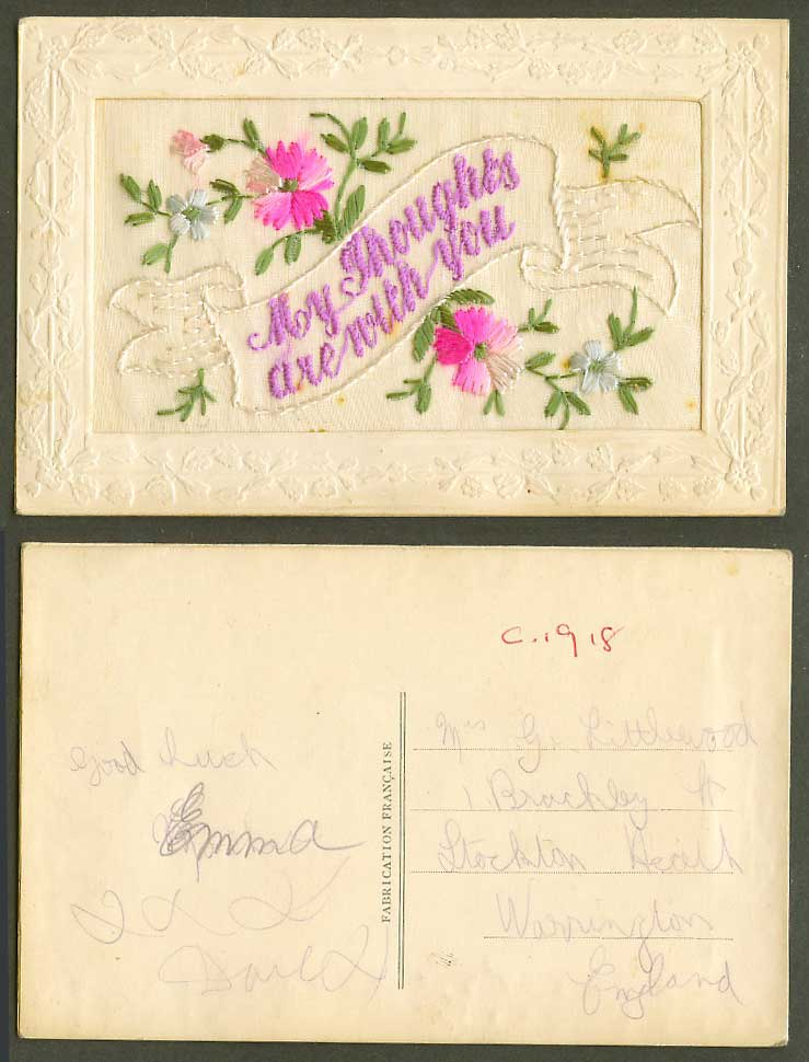 WW1 SILK Embroidered c1918 Old Postcard My Thoughts Are With You Flowers Novelty