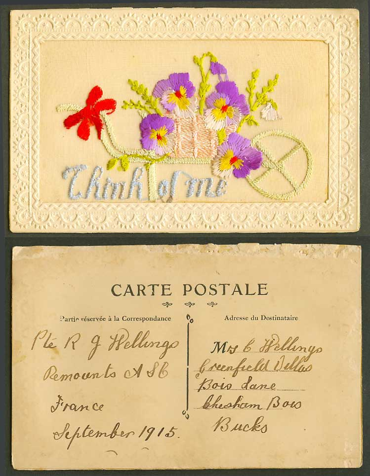 WW1 SILK Embroidered 1915 Old Postcard Think of Me, Flowers Flower Cart, Novelty