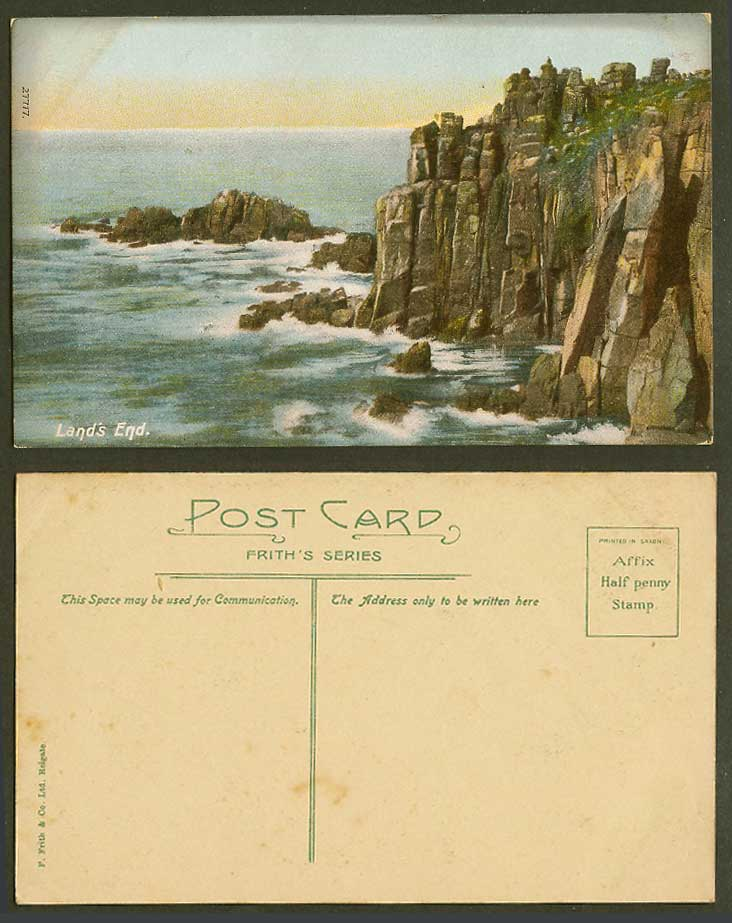 Land's End Cornwall Old Colour Postcard Rough Sea, Cliffs, Rocks, Frith's Series