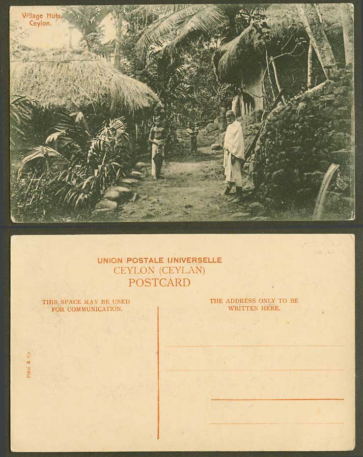 Ceylon Old Postcard Native Huts Houses Colombo Village Street Scene Men and Baby