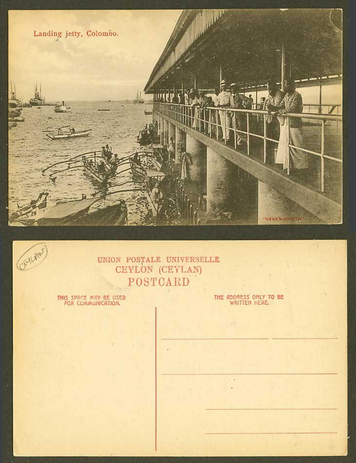 Ceylon Old Postcard Landing Jetty Colombo Boats Steamers Steam Ships Harbour Men