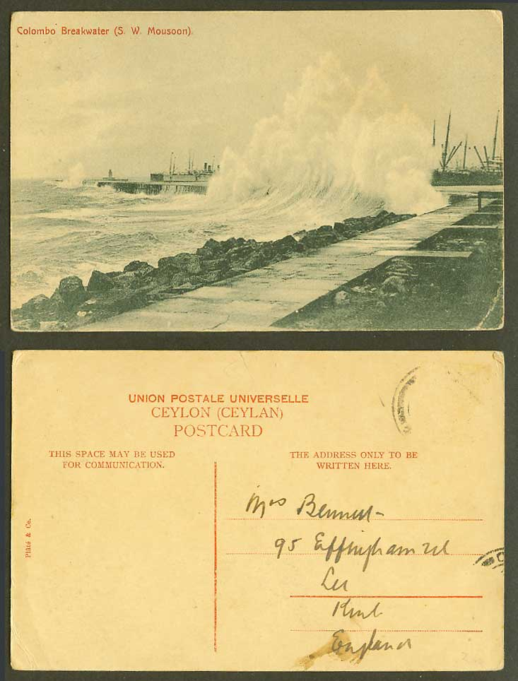 Ceylon Old Postcard Colombo Breakwater South West S.W. Monsoon Ships Lighthouse