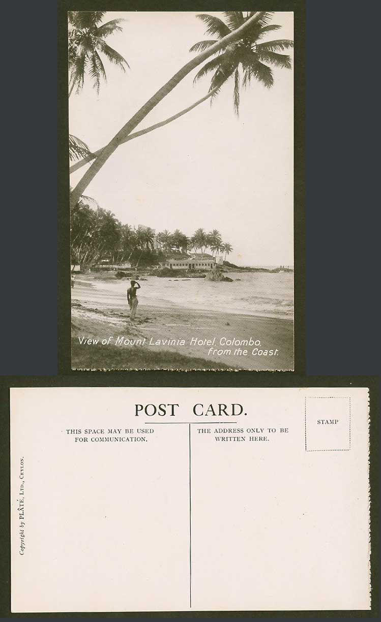 Ceylon Old Postcard View of Mount Lavinia Hotel, Colombo, from The Coast, Beach