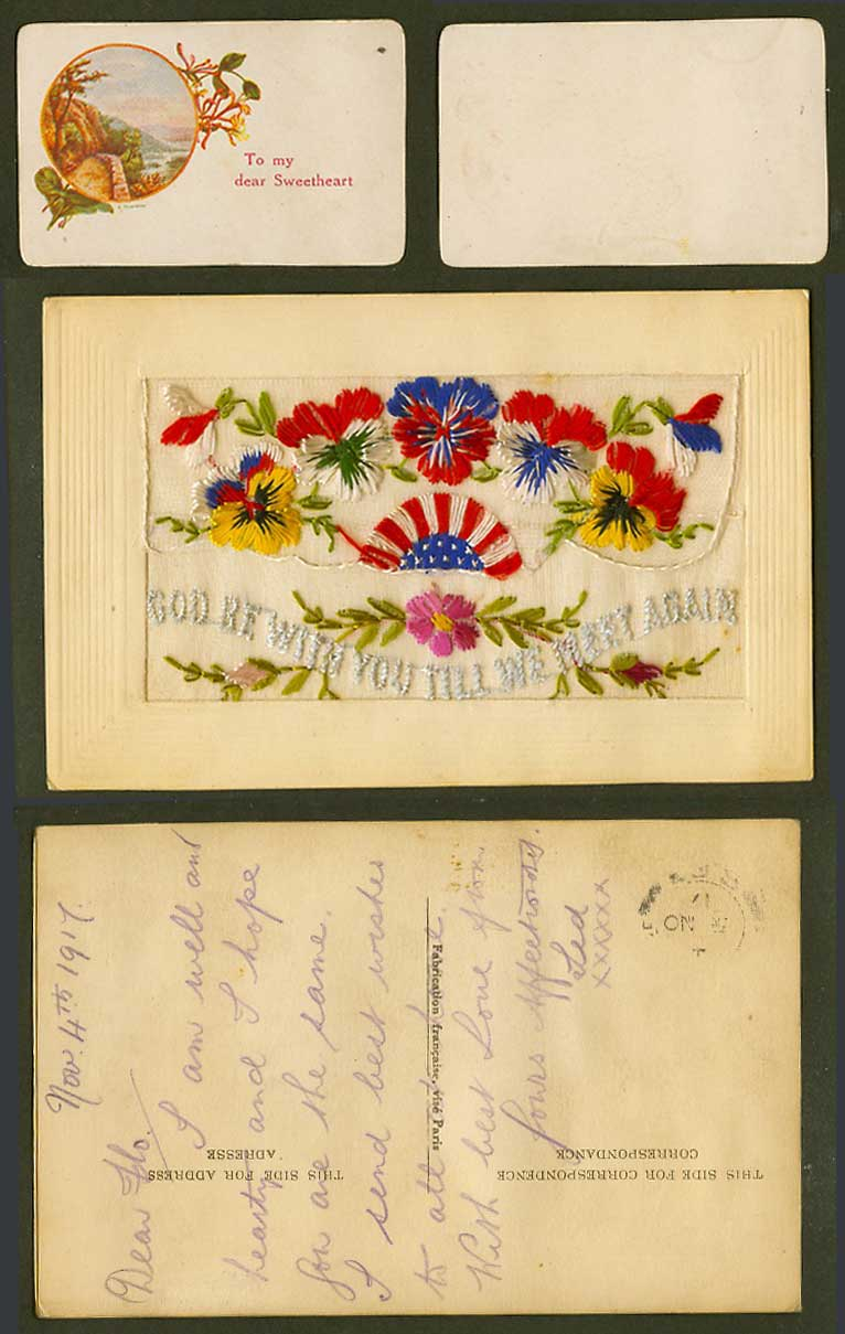 WW1 SILK Embroidered 1917 Old Postcard God Be With You Till We Meet Again Wallet