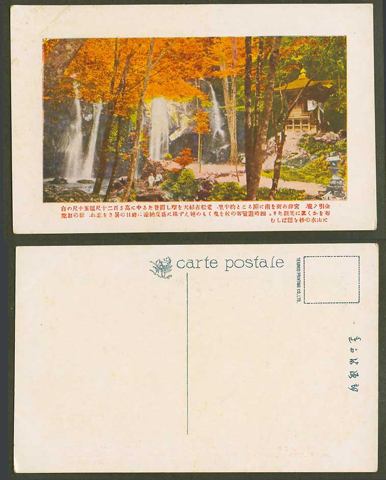 Japan Old Postcard Kanabiki Fall Waterfall Miyatsu Miyazu Autumn Maples 金引瀧 宮津 秋