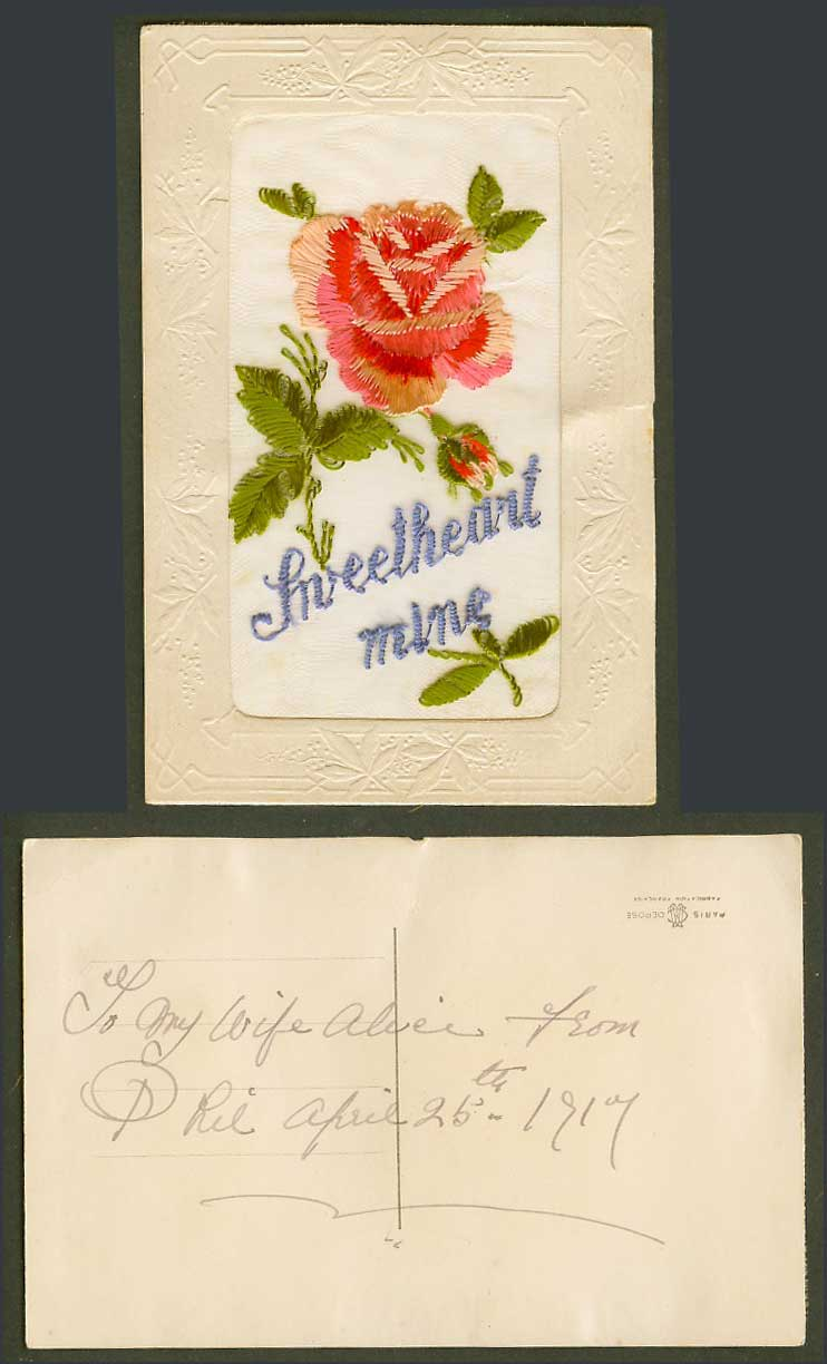 WW1 SILK Embroidered 1917 Old Embossed Postcard Sweetheart Mine, Flowers Novelty