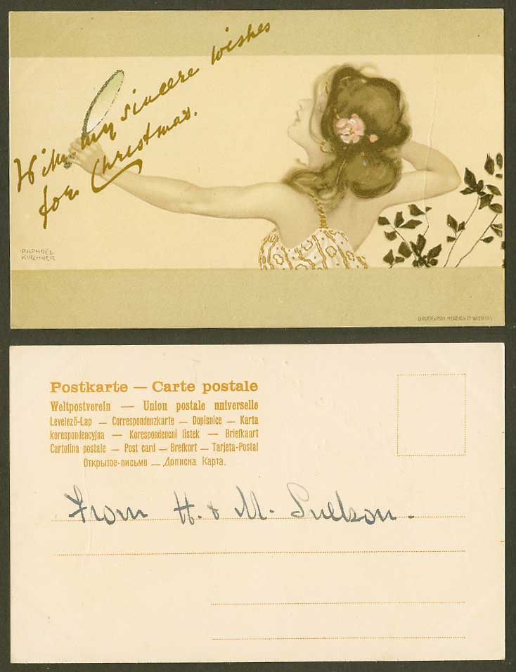 Raphael Kirchner Old UB Postcard Glamour Lady Woman Mirror, Wishes for Christmas