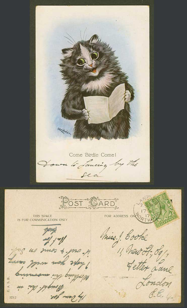 LOUIS WAIN Artist Signed Cat Kitten, Come Birdie Come 1917 Old Postcard E.A.S.B.