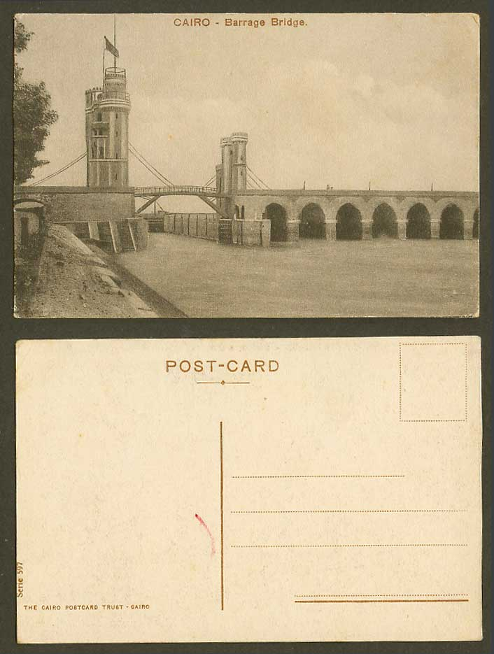 Egypt Old Postcard Cairo Barrage Bridge, River Scene Flag on Tower Water Dam 597