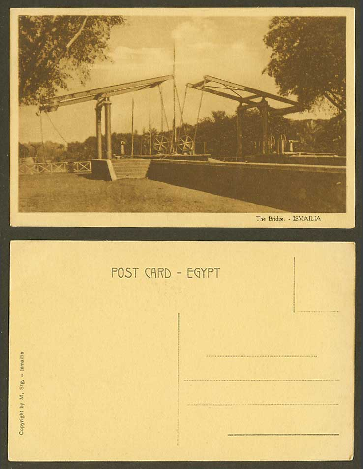 Egypt Old Postcard Ismailia, The Bridge, Wheels, Steps Stairs - M. Stg. Ismailia
