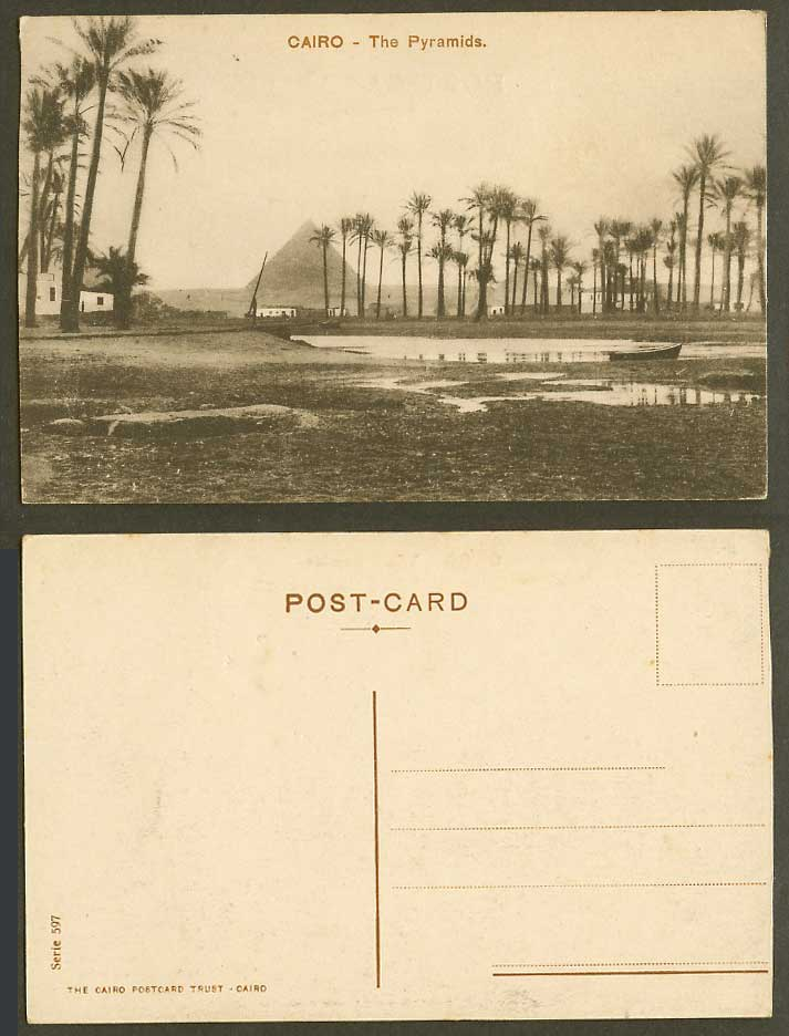 Egypt Old Postcard Cairo The Pyramids, Palm Trees Boat Canoe River Panorama 597