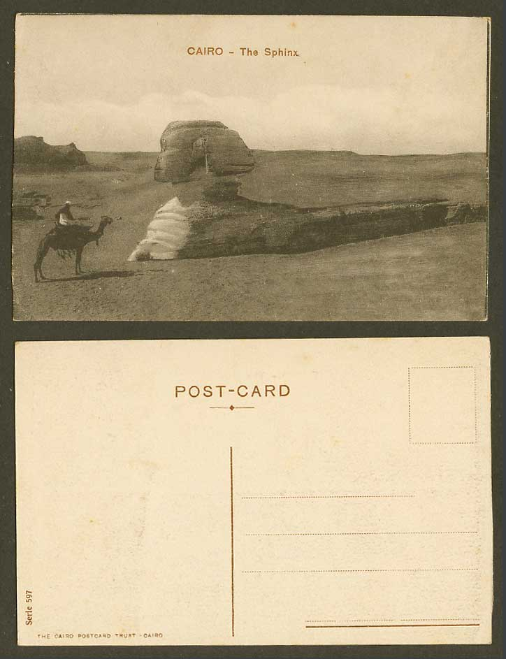 Egypt Old Postcard Cairo, The Sphinx, Le Caire Camel Rider Desert Sand Dunes 597