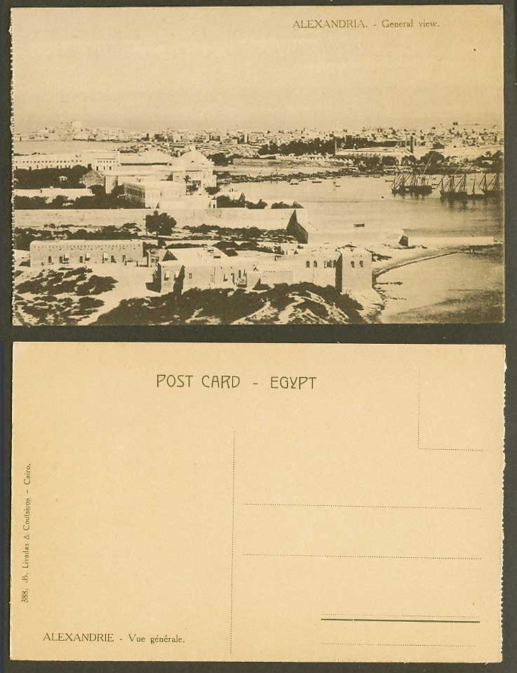 Egypt Old Postcard Alexandria General View Panorama, Harbour Ships Boats No. 388