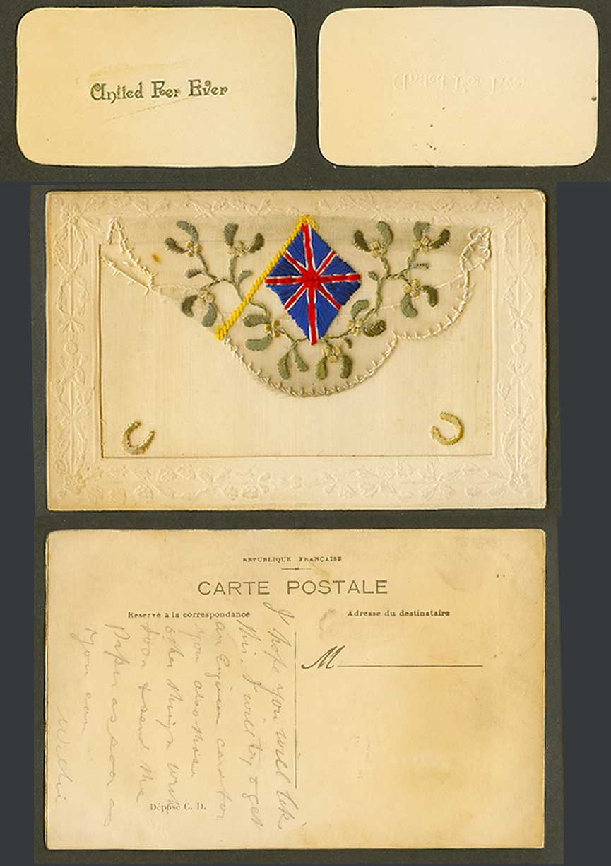WW1 SILK Embroidered Old Postcard Flag Mistletoe, United For Ever Card in Wallet