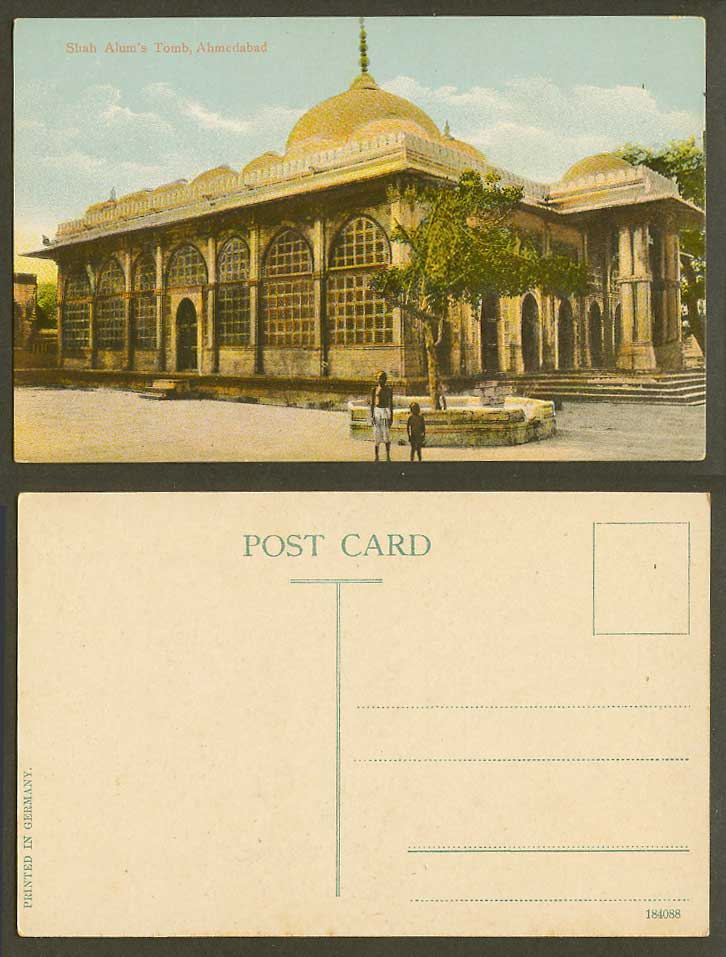 India Old Colour Postcard Shah Alum Alum's Tomb Ahmedabad 2 Boys Children 184088
