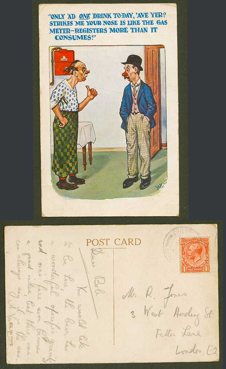 Strikes me your nose is like the gas meter, registers more consumes Old Postcard