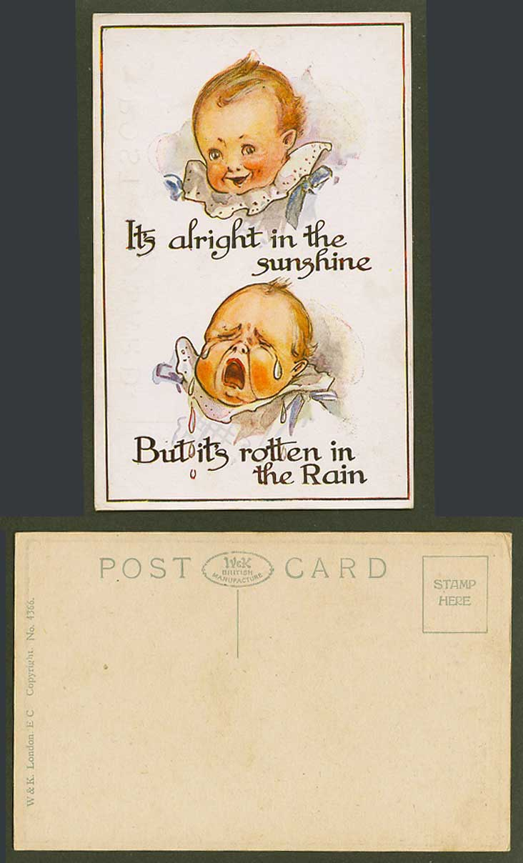Baby Smile Cry It's alright in the sunshine, but Rotten in the Rain Old Postcard