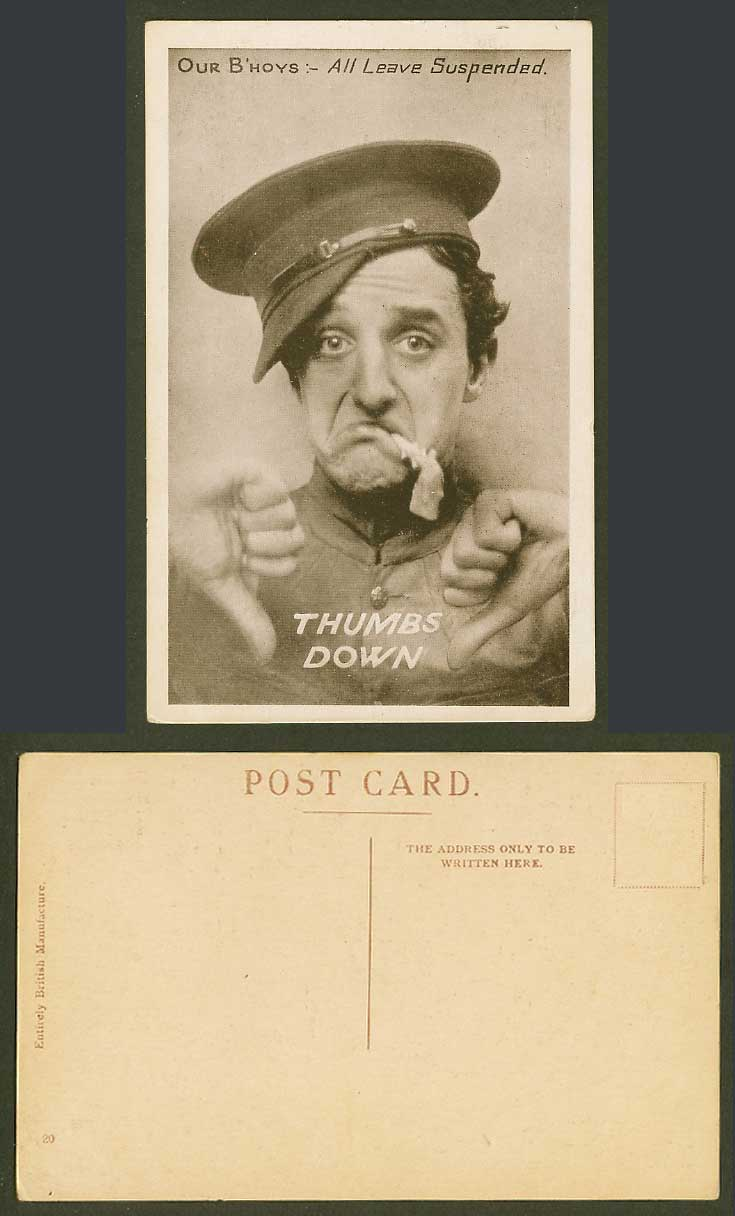 Thumbs Down, Our B'hoys All Leave Suspended, Man wearing Hat Humour Old Postcard
