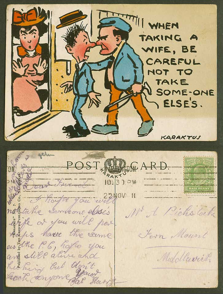 KARAKTUS 1911 Old Postcard Taking a wife, be careful not to take some-one else's
