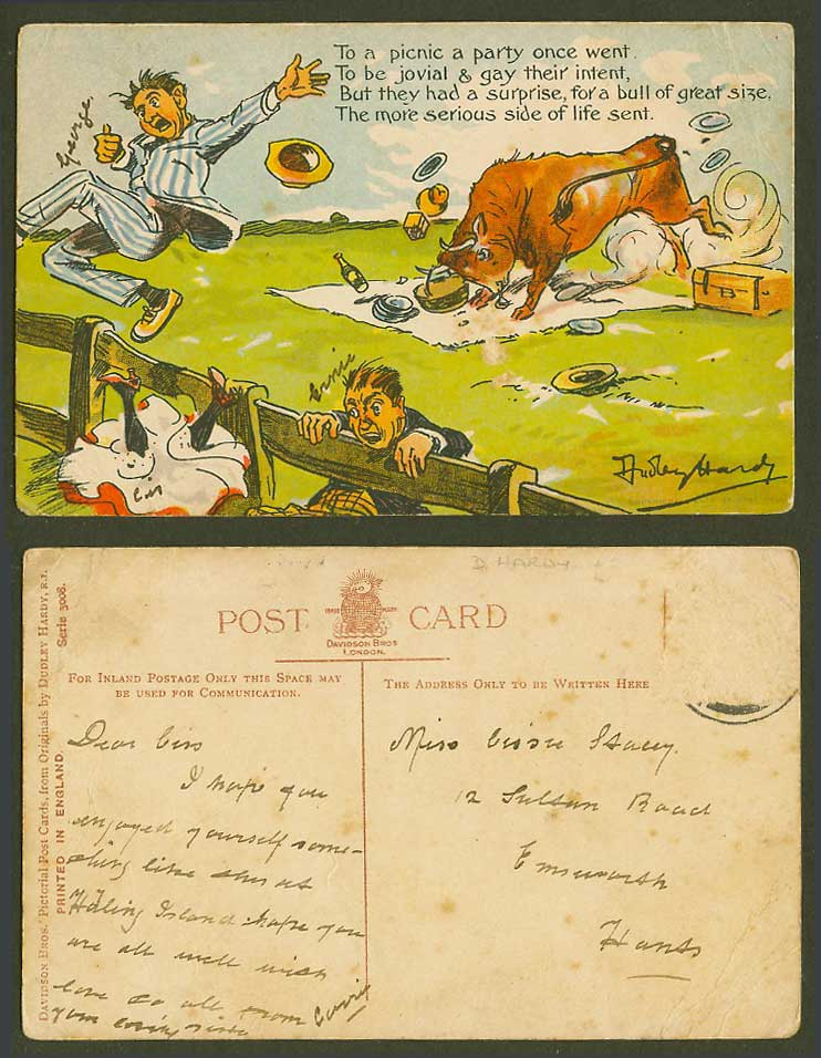 Dudley Hardy Artist Signed Old Postcard Bull of Great Size Surprise Picnic Party
