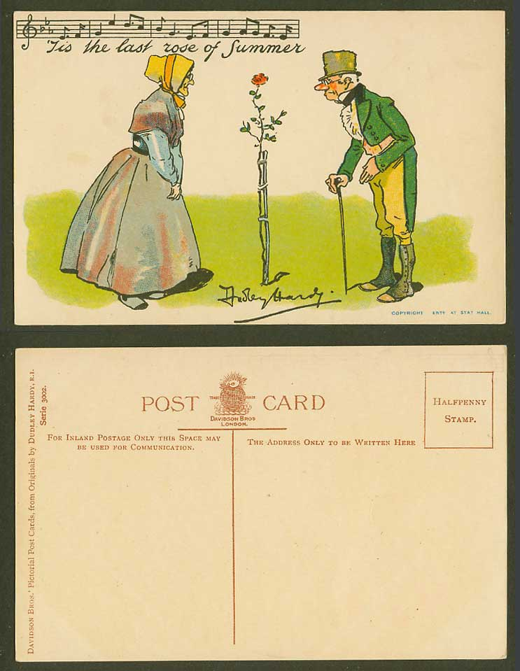 Dudley Hardy Artist Signed Old Postcard 'Tis The Last Rose of Summer, Song Music