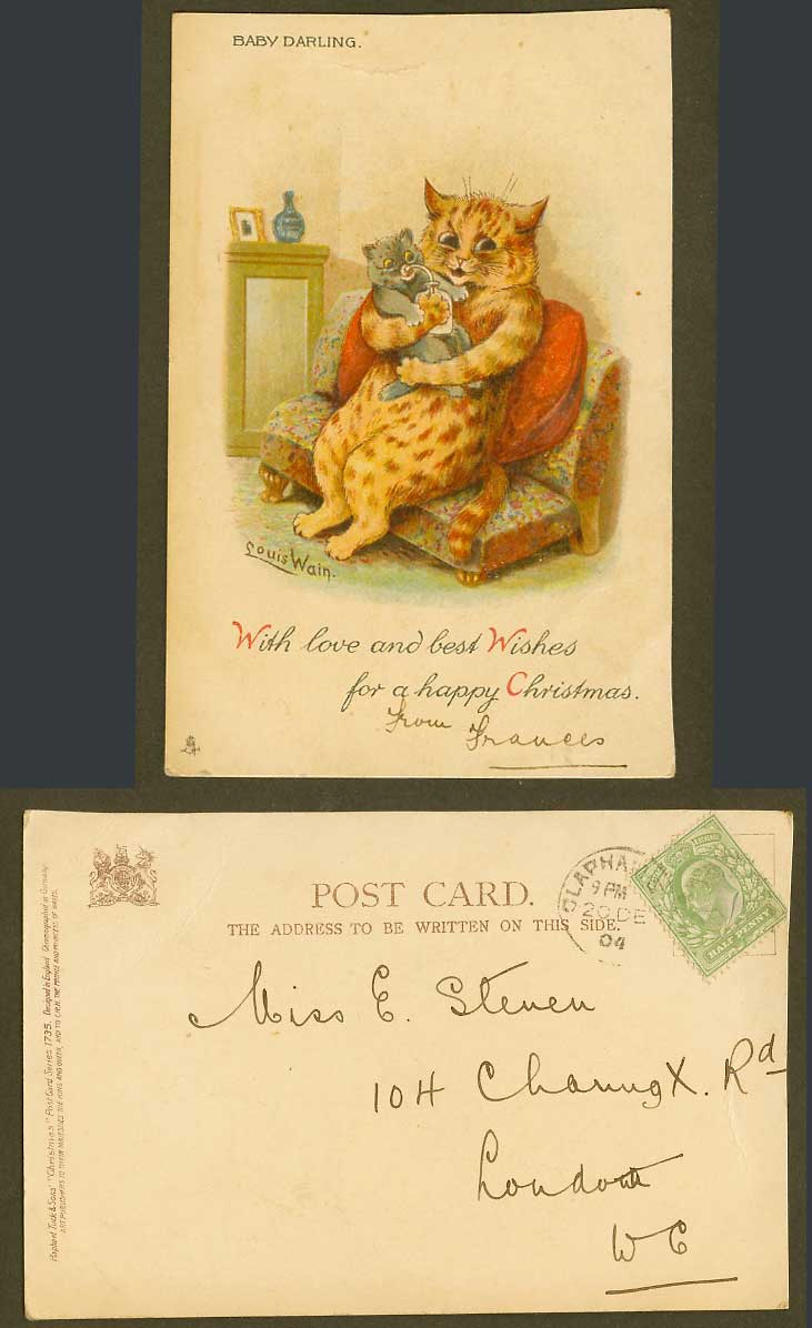 Louis Wain Artist Signed Cat Feeding Baby Darling 1904 Old UB Postcard Christmas