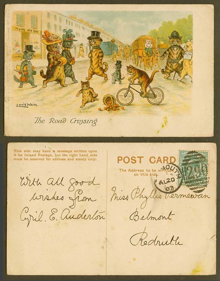 Louis Wain Artist Signed Cats The Road Crossing Police & Blind 1903 Old Postcard