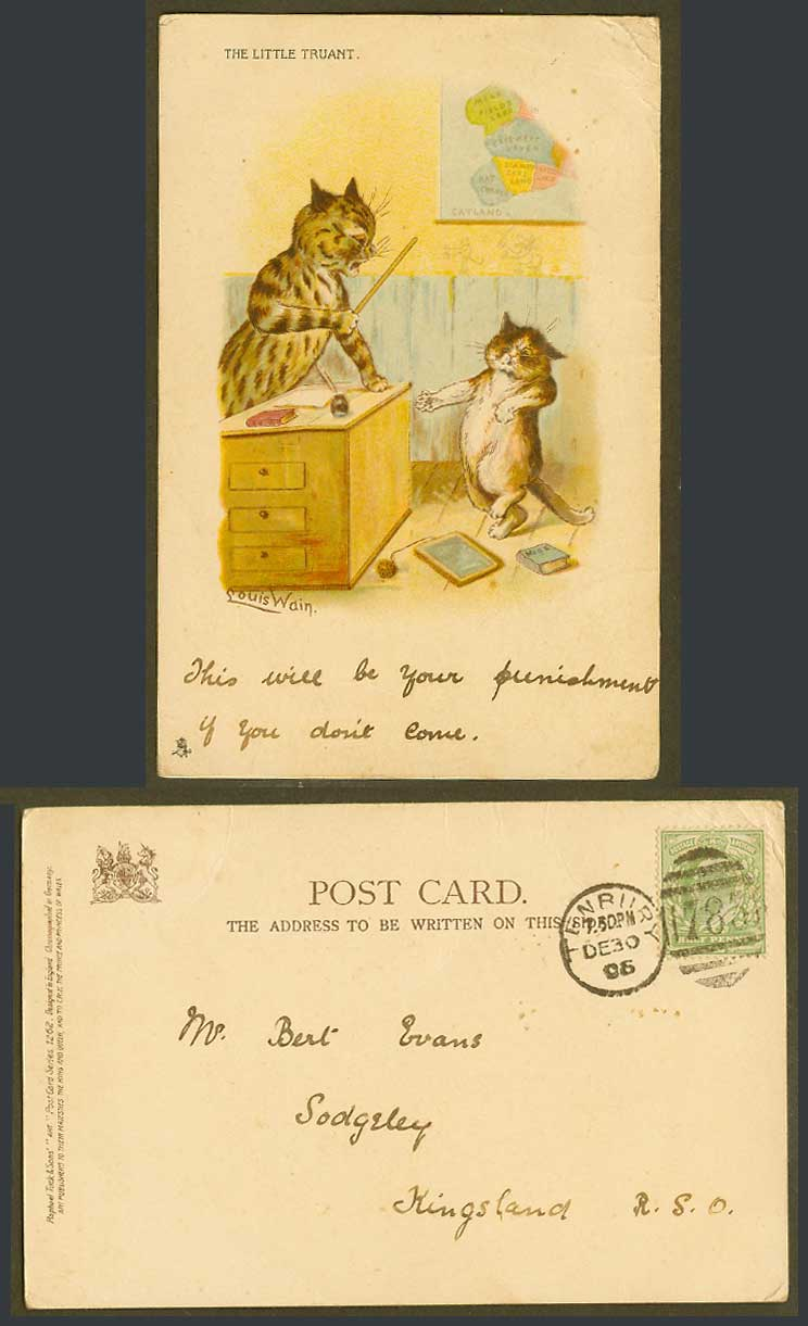 Louis Wain Artist Signed Cats Catland MAP The Little Truant 1905 Old UB Postcard