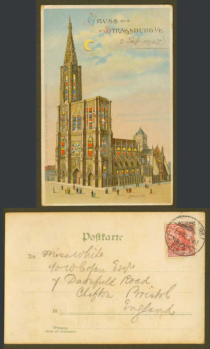 Hold To The Light Gruss aus Strassburg Muenster Moon France 1902 Old UB Postcard
