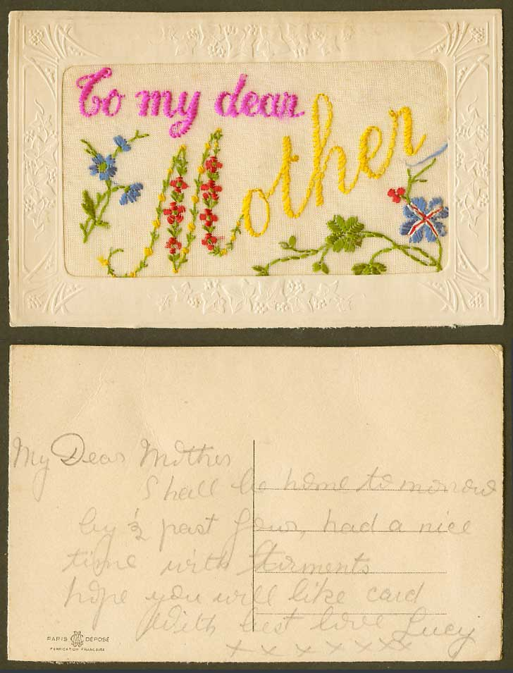 WW1 SILK Embroidered Old Postcard To My Dear Mother Flowers Brit. Flag Greetings