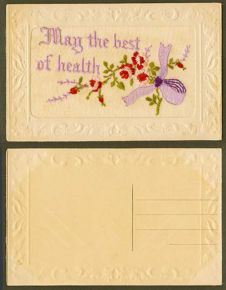 WW1 SILK Embroidered French Old Postcard May The Best Of Health Bunch of Flowers