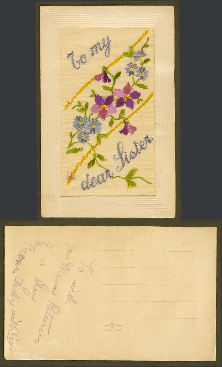 WW1 SILK Embroidered Old Postcard To My Dear Sister, Flowers, Novelty Greetings