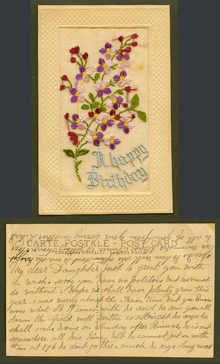WW1 SILK Embroidered Old Postcard A Happy Birthday, Greetings, Flowers, Novelty