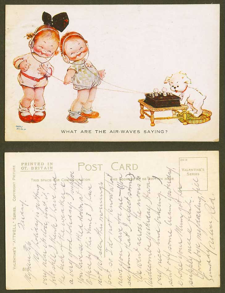 MABEL LUCIE ATTWELL Old Postcard What Are the Air-Waves Saying Dog Headphone 810