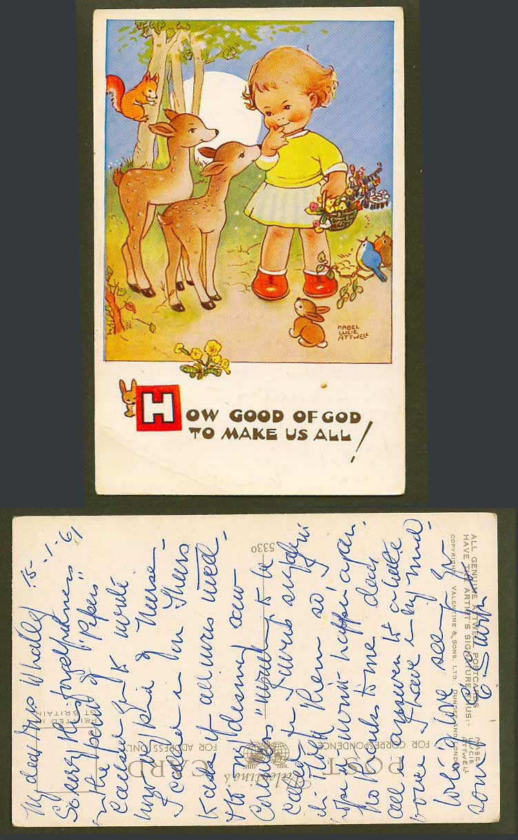 MABEL LUCIE ATTWELL 1961 Old Postcard How Good of God to Make Us All! Deer 5330