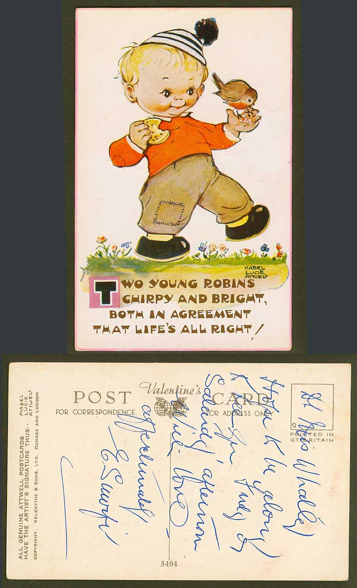 MABEL LUCIE ATTWELL Old Postcard Young Robins Chirpy Bright Life Robin Bird 5494