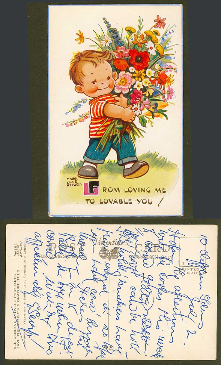 MABEL LUCIE ATTWELL Old Postcard Boy Flowers from Loving Me to Lovable You! 5829